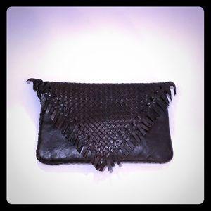 Anthropologie Leather woven fringe envelope clutch